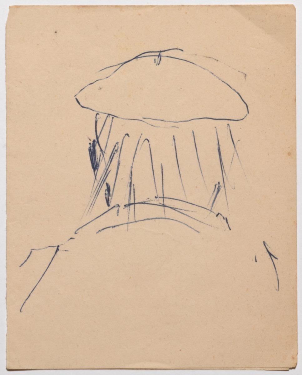 Portrait - Original Drawing in Pen on Paper by Beppe Guzzi - 1950s
