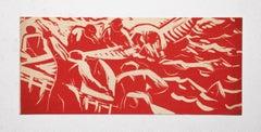 Fishing - Original Woodcut by Enrico Accatino - 1952