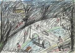 The Street - Original Oil pastels by Nazareno Gattamelata - 1975