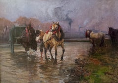 Working Horses - Original Oil on Canvas by Alessandro Lupo - 1913