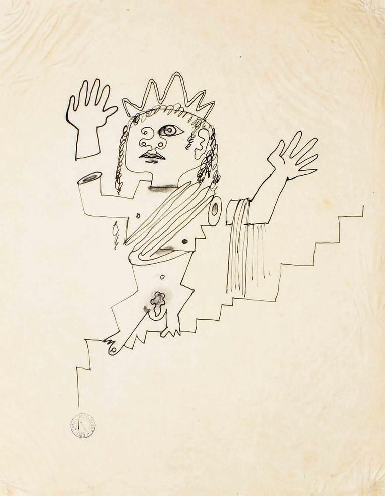 The protagonist of this drawing by Jean Cocteau is a surreal and iconic Goddess with a fragmented body; she seems to go up the stairs.  Provenance: Anna Laetitia Pecci Blunt Collection (circular mark bottom-right).  Realized by Cocteau in 1920s