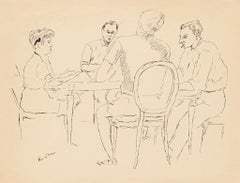 Card Players  - Original Pen Drawing by Diamantino Riera - 1950s