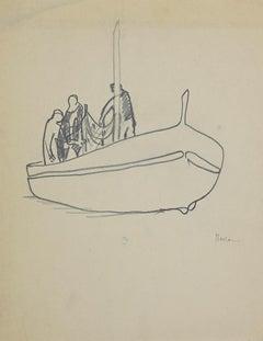Boatmen - Original Pencil on Paper by Herta Hausmann - 1950 ca.
