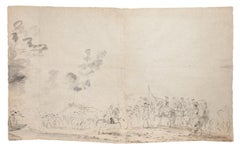 Landscape - Original Pencil on Paper by J. P. Verdussen - 18th Century