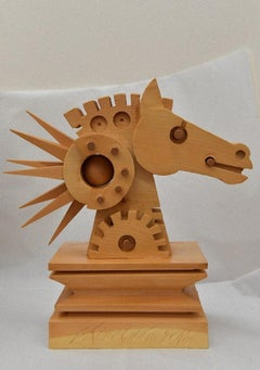 Horse - Original Wooden Sculpture by Ferdinando Codognotto - 2010
