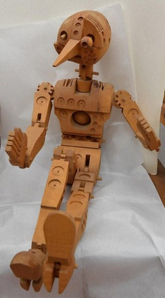 Technological Pinocchio - Original Wooden Sculpture by F. Codognotto - 2007/2008