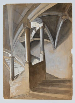 Perspective of a Staircase - Original Pencil and Watercolor - Mid-20th Century