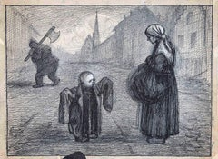 The Beggar and The Child - Original China Ink by Gabriele Galantara - 1915