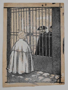The Pope and the Prison - Original China Ink by Gabriele Galantara - 1910