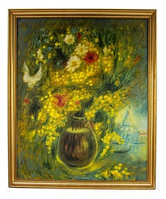 Mimosa and field flowers - Original Oil Painting by Vito Alghisi -  1989