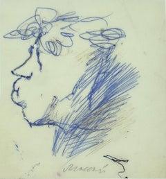 Portrait of Ottone Rosai - Original Blue Ink by Mino Maccari - 1960s