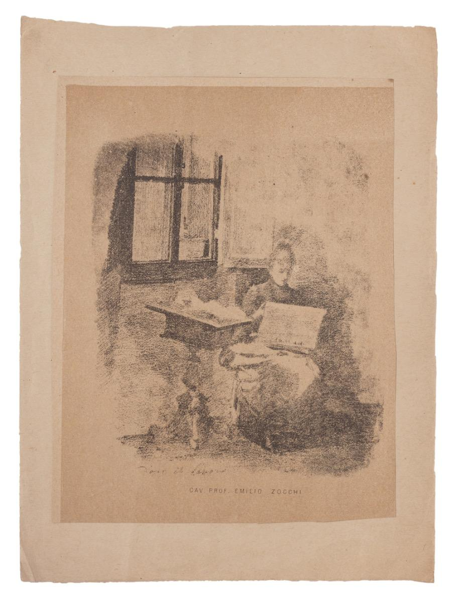 Reading Woman - Original Lithograph by Emilio Zocchi - 1880