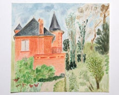 The Castle and the Garden - Original Mixed Media by Jean Fou - Mid-20th Century