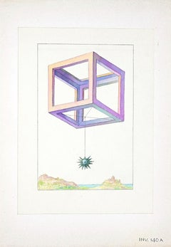 Geometrical Game - Original Ink and  Watercolor on Paper - 1950s