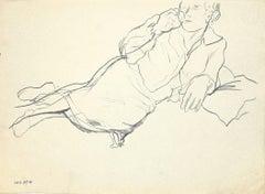 Lying Figure - Original Charcoal on Paper - 1940s