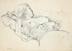 Sleeping Nude Woman - Original Charcoal on Pencil - 1940s