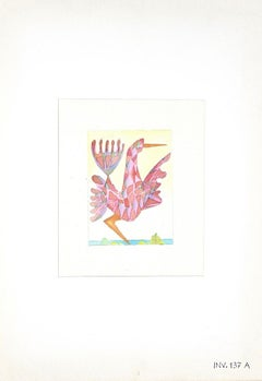 Geometrical Bird - Original Watercolor and Pencil on Paper - 1950s