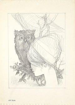 The Owl and the Girl - Original Original Drawing on Paper - 1950s