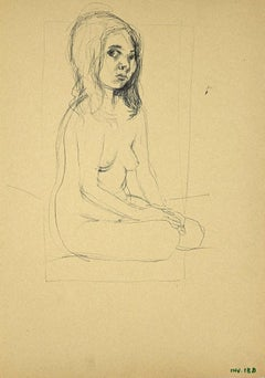 Nude Girl - Original Original Drawing on Paper - 1970s