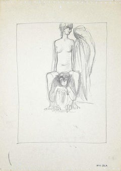 The Girl and the Gorilla - Original Original Drawing on Paper - 1950s