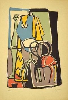 Composition - Original Linoleum by Guido La Regina - Late 20th century