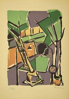 Colorful Cityscape- Original Linoleum by Guido La Regina - Late 20th century