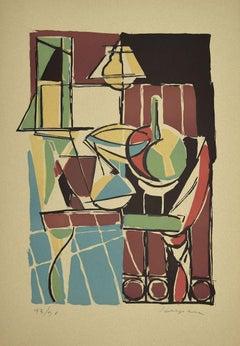Colorful Composition- Original Linoleum by Guido La Regina - Late 20th century