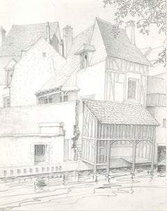 Architectures in Vendôme - Original Pencil Drawing by A. R. Brudieux - 1960s