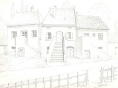 Château-Guillaume - Original Pencil Drawing by A. R. Brudieux - 1960s