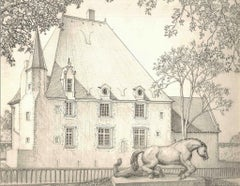 Buildings in Vendôme - Original Pencil Drawing by A. R. Brudieux - 1960s