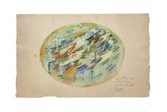 Abstract Composition - Original Watercolor on Paper by B. Jean Louttre - 1950s