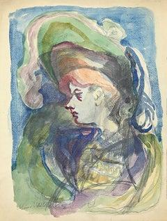 Portrait - Original Pencil and Watercolor on Paper by Mino Maccari - 1955