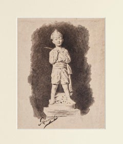 """The Toy Soldier - Ink and Watercolor signed """"Marzichi"""" - Early 20th Century"""