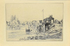 On the Bank of Thames - Original Etching on Paper by Arthur Evershed - 1876