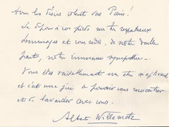 Message from Albert Willemetz to the Countess Anna-Laetitia Pecci-Blunt - 1963