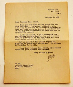 Letter from Hilaire Belloc to the Countess Pecci Blunt - 1938
