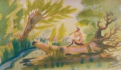 The Faun in the Woods - Original Watercolor and Tempera by Jean Delpech - 1944