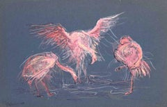 Pink Flamingos - Original Drawing - 1992
