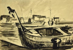 Boats - Original China Ink and Watercolor by Luigi Surdi - Mid 20th century