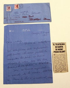 Letter from Tommaso Buzzi to the Countess Pecci Blunt - 1957