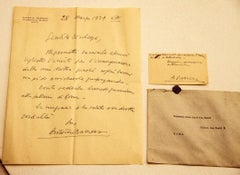 Letter with Business Card by the painter Antonio Barrera - Mid-20th Century