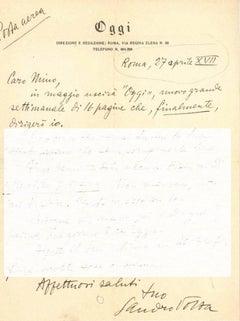 Letter from Sandro Volta to Mino Maccari - 1939