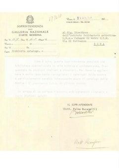 Letter by Palma Bucarelli - 1954