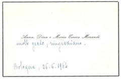 Condolence Telegram by Giorgio Morands Sisters - 1964