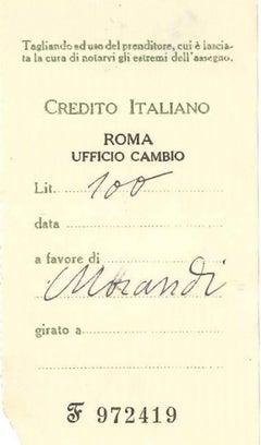 Counterfoil in favor of Giorgio Morandi - mid-20th Century