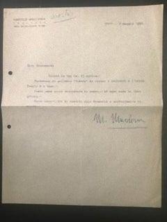 Letter from Marcello Mascherini to Nesto Jacometti - 1956