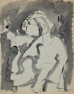 Figure - Original China Ink and Watercolor by Henri Espinouze - 1957