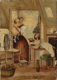 Mon dieu, gardez-moi mon enfant - Original Watercolor by Paul Delhommeau - 1868