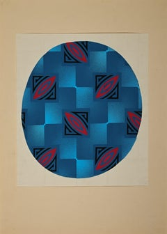 Blue Circle - Original Tempera by Clement Nicolas Kons - 1920s