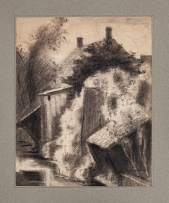 Cottage in the Countryside - Original Drawing - Mid-20th century